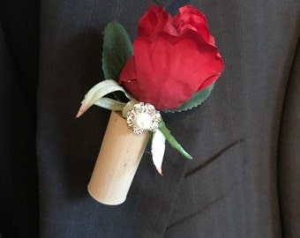 Red Rose and Pearl Jewel Wine Cork Boutonniere