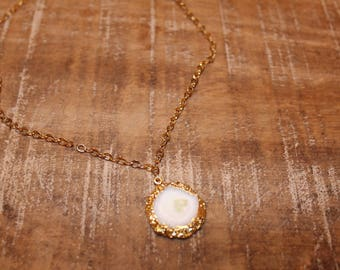 White Druzy Pendant on Gold Filled Chain