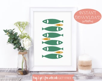 Printable Wall Art, Wall Art, Art Prints, Printable Art, Fish Print, Minimalist Print, Minimalist, Prints, Wall Art Prints, Modern Print