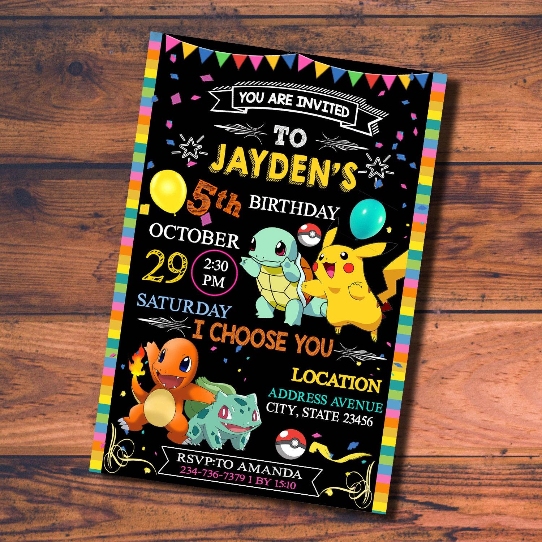 Vintage Invitation Card: Pokemon Invitation Pokemon Birthday Pokemon Party By