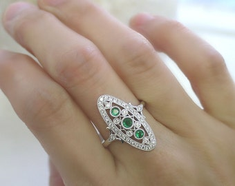 18K solid gold three emerald and diamond art deco ring