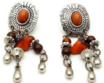 Aztec Silver tone lightweight metal Primitive Drop Earrings Vintage from the 90s with orange beads