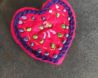 Hand Embroidered Felt Heart Brooch