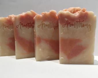 APRICOT FREESIA SOAP - Handmade Shea Butter Soap - 4.5oz. of lather for bath or shower-rich and creamy goodness