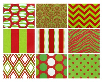 Premier Prints Red/Green Fabric Remnants/Scrap Packs - Free Shipping