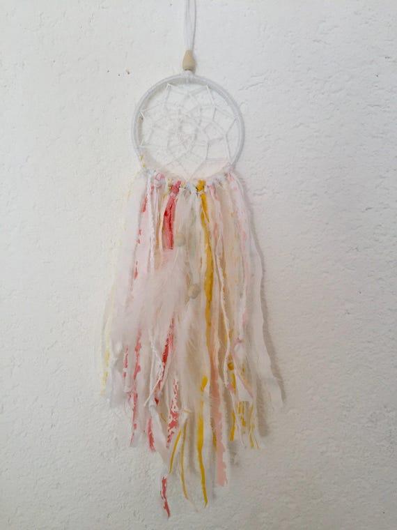 traumfänger kinderzimmer frühling rosa weiss gelb 10 cm