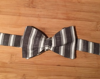 Grey Strip Self-tie Bow Ties