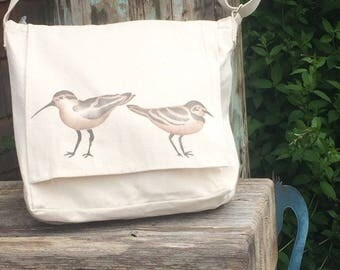 Shorebirds handpainted on light weight cotton canvas messenger bag, Sand dollar accent,  crossbody or shoulder bag, adjustable strap.