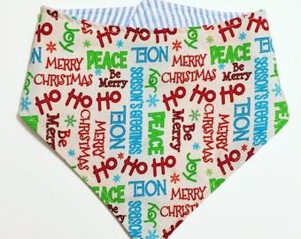 Holiday Words bib, Bib bandana, bibdana, baby bib, drool bib, Holiday Bib, Christmas Bib
