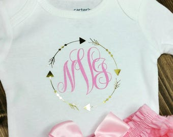 Newborn Onesie, Take me home outfit, pink and gold, monogram, arrows