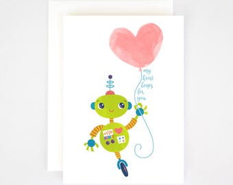 Greeting Card A6 - Robot with Heart Balloon - Blank Inside