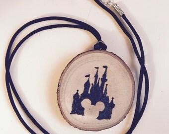 Disney Castle Wood Burned Pendant Necklace