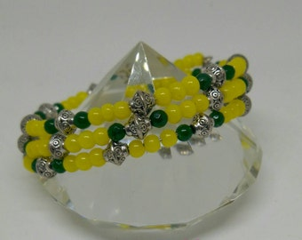 Yellow and green wrap bracelet