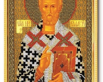 Bead Embroidery Kit DIY Icon Saint Nicholas The Wonderworker Canvas Glass Beads Guide Beginners