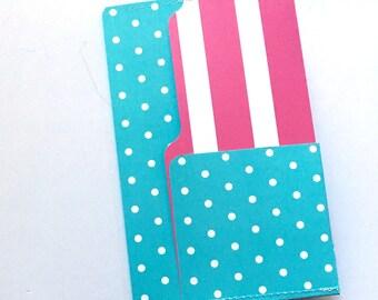 TN 6 Pocket Folder Blue Dot Stripe 8x5