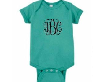Monogrammed Onesie Short Sleeve Shirt Embroidered Baby Bodysuit