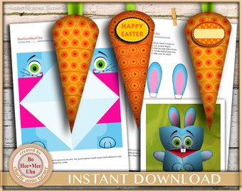 Easter bunny kids craft. Cootie catchers. Fortune tellers. Carrot garland decorations or treat boxes. Instant  digital instant download.