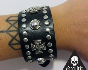 Black leather, Crosses, chrome studded bracelet, leather cuff