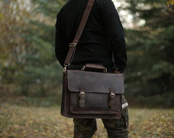 Dark Brown Leather Messenger bag/ Leather Shoulder Bag/ Leather Briefcase / Leather School Bag/ Leather Mens Bag/ Personalized Bag