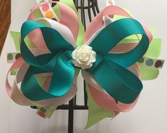 Pastel flower center bow