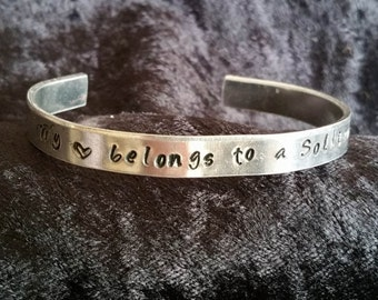 My Heart Belongs to a Soldier Hand Stamped Bracelet
