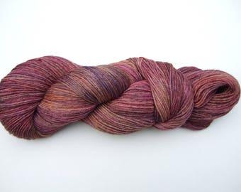 "Hand Dyed Yarn 100g Superwash Merino Wool/Bamboo 4ply ""Redwood"", red, gold, burgundy, brown"
