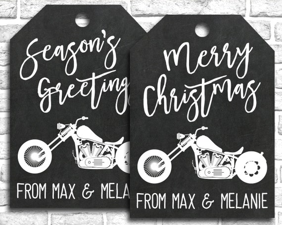 Printable PERSONALIZED Motorcycle Christmas Gift Tags