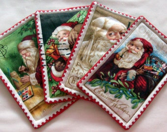 Christmas Coasters Quilted Coasters Santa Coasters Holiday Coasters Handmade Coasters Drink Coasters Fabric Coasters Table Coasters