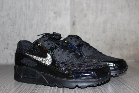 Bling Women s Nike Air Max 90 Premium Black by DiamondsOnMyFeet hot sale  2017 98eb0b84c6