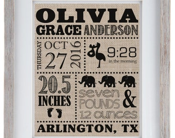 Birth Announcement Burlap Print | Birth Announcement Sign | New Baby Gift | Newborn Announcement Sign | Nursery Wall Sign