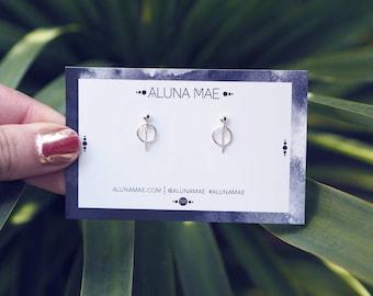 ELODIE. Sterling Silver Circle Stud Earrings