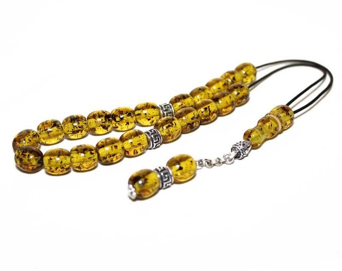 Worry Beads, Greek Komboloi, Champagne Amber color, Round Barrel Beads, Relaxation, Meditation