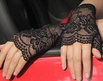 Black Half Finger Lace Short Evening Gloves, Short White Gloves, Lace White Glove, Wedding Gloves, Bridal Gloves, 1930s Gloves