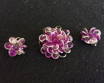 Vintage Abstract Floral Brooch and Clip-on Earring Set