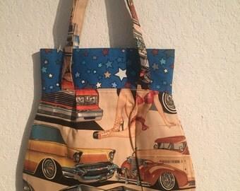 Handmade Shoulder Fabric Bag Pinup Cars