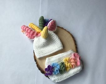 Newborn unicorn outfit-newborn unicorn hat-baby unicorn hat-photo prop-newborn photo prop-ready to ahip