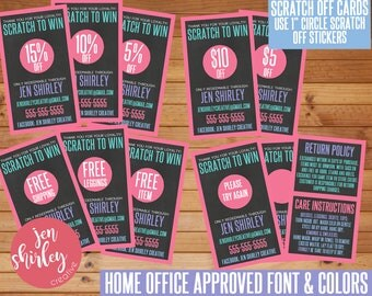 SALE! Chalkboard Scratch Off Cards, Customized, Personalized, Business Cards, Loyalty, Marketing, Scratch to Win, Consultant Cards, LLR