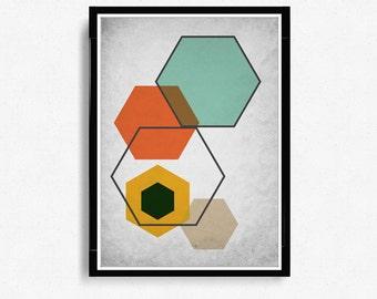 Scandinavian Art Print, Hexagons Print Art, Mid Century Modern Art, Abstract minimalist Wall Art, Modern Art Print *12*
