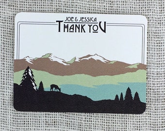 Colorado Rocky Mountains  Thank You Note Cards Script with Names and A2 Envelopes
