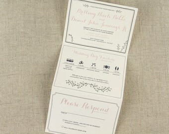 elegant blush pink greenery trifold wedding invitation with tear off rsvp postcard with envelope - Wedding Invitations Rsvp