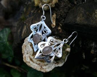 Sterling Silver Detailed Earrings, Rose quartz