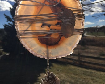 Sun Catcher Wire Wrapped Agate with Quartz Crystal and Amethyst Charms