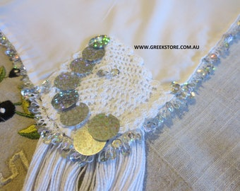 Silver sequined square headkerchief (for traditional Greek costume)