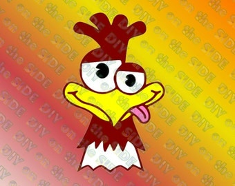 SVG Cut File Crazy Chicken Head Rooster Instant Download
