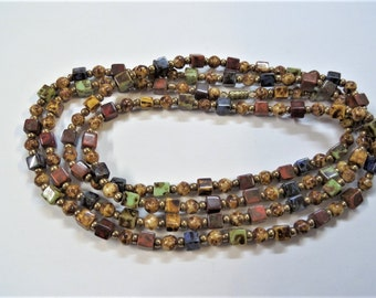 Brown beaded necklace, handcrafted (S46)
