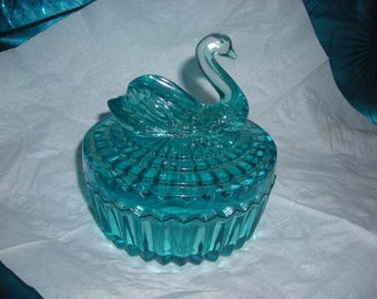 SWAN JEANNETTE GLASS Azure Blue Powder Dish with LipstickTop