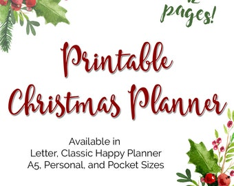 Christmas Holiday Planner Printable Inserts in Personal A2 Planner Size