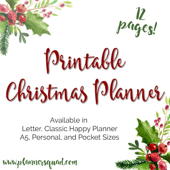 Christmas Holiday Planner Printable Inserts in A5 Size