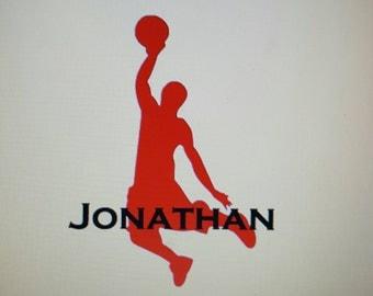 Basketball Vinyl Decal, Customize Name and Number, Basketball Car Decal, Basketball Window Decal, Basketball Yeti Decal, Basketball Sticker