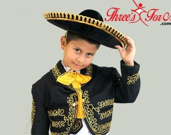 Boy Black Charro Mariachi Suit: 6 piece